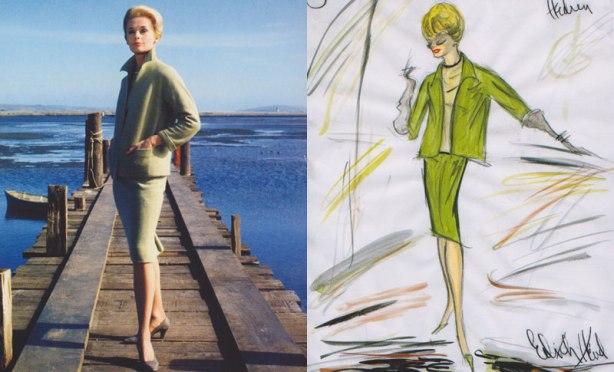 """העיצוב של אדית' הד, מול טיפי הדרן כ""""מלאני"""" ב""""הציפורים"""""""